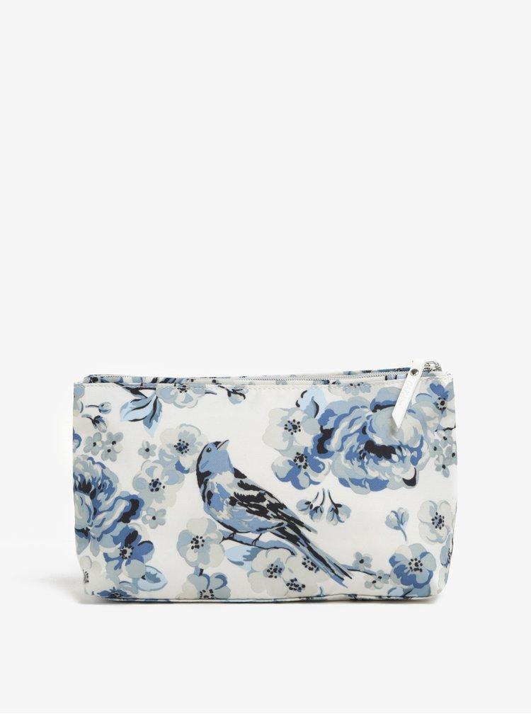 Modro-krémová kosmetická taštička s potiskem květů a ptáků Cath Kidston