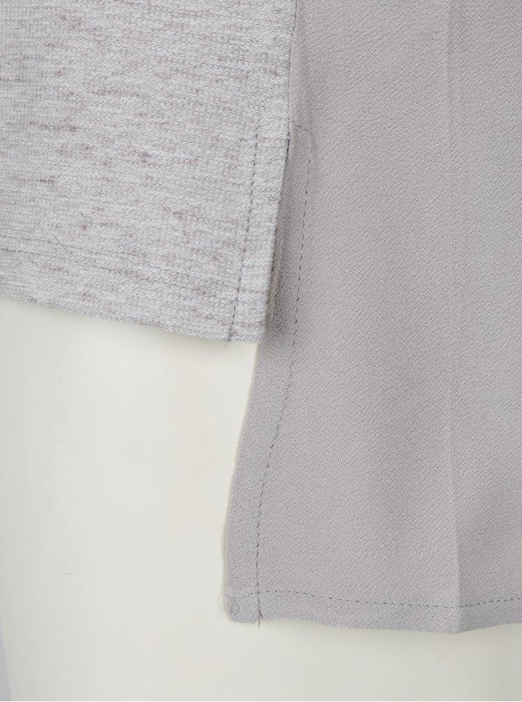 Světle šedé žíhané tričko s potiskem VERO MODA Sasha