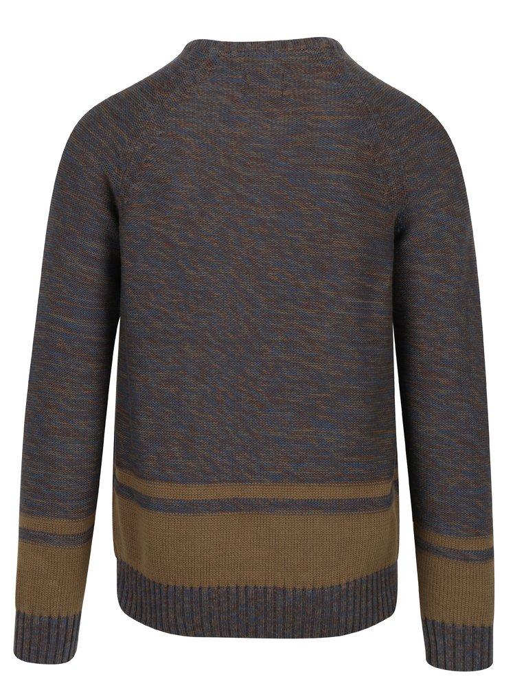 Modro-hnědý žíhaný slim fit svetr Blend