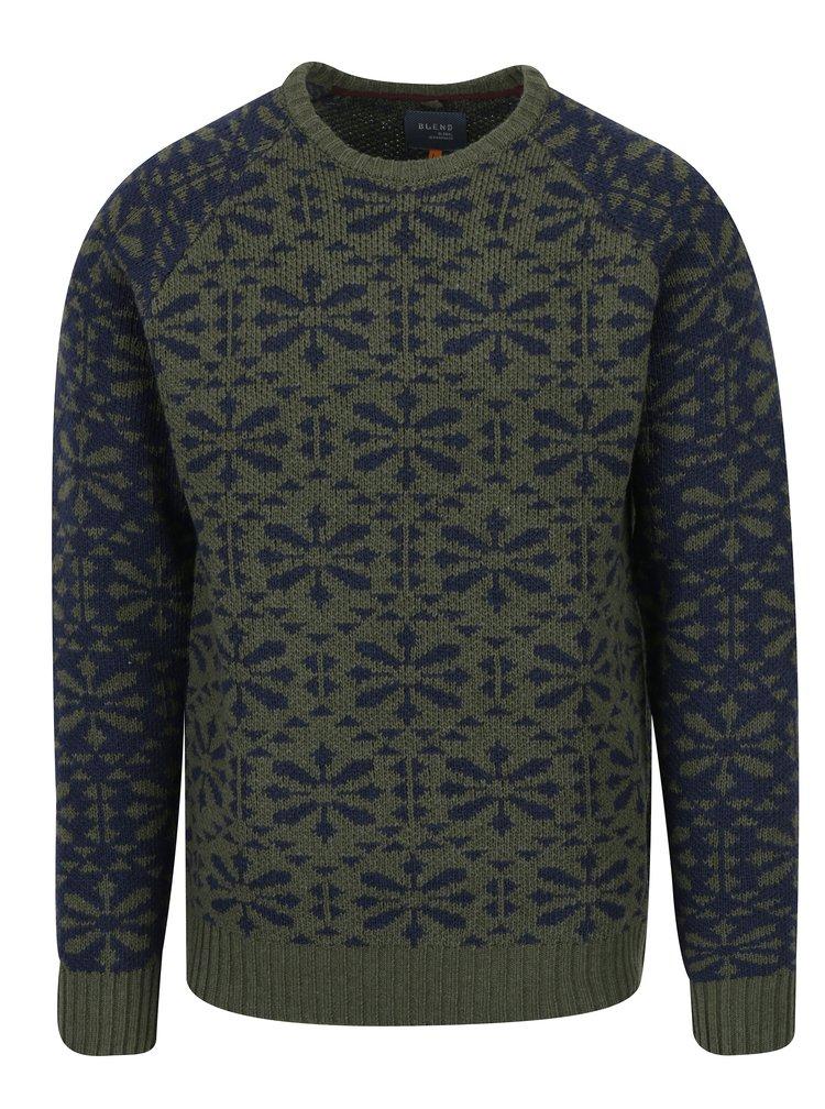 Pulover verde&albastru inchis cu amestec de lana Blend