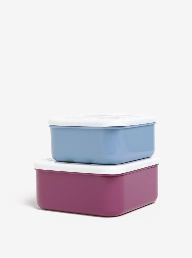 Modro-vínová sada dvou svačinových boxů s potiskem hub Cath Kidston
