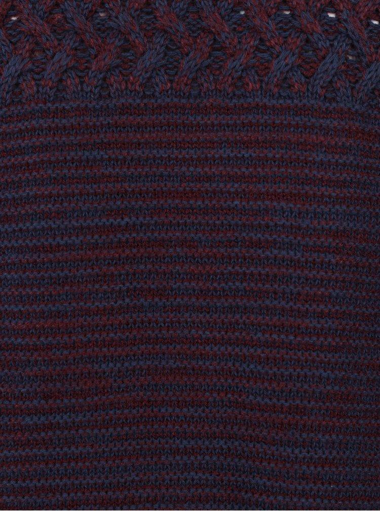 Modro-vínový žíhaný slim fit svetr Blend