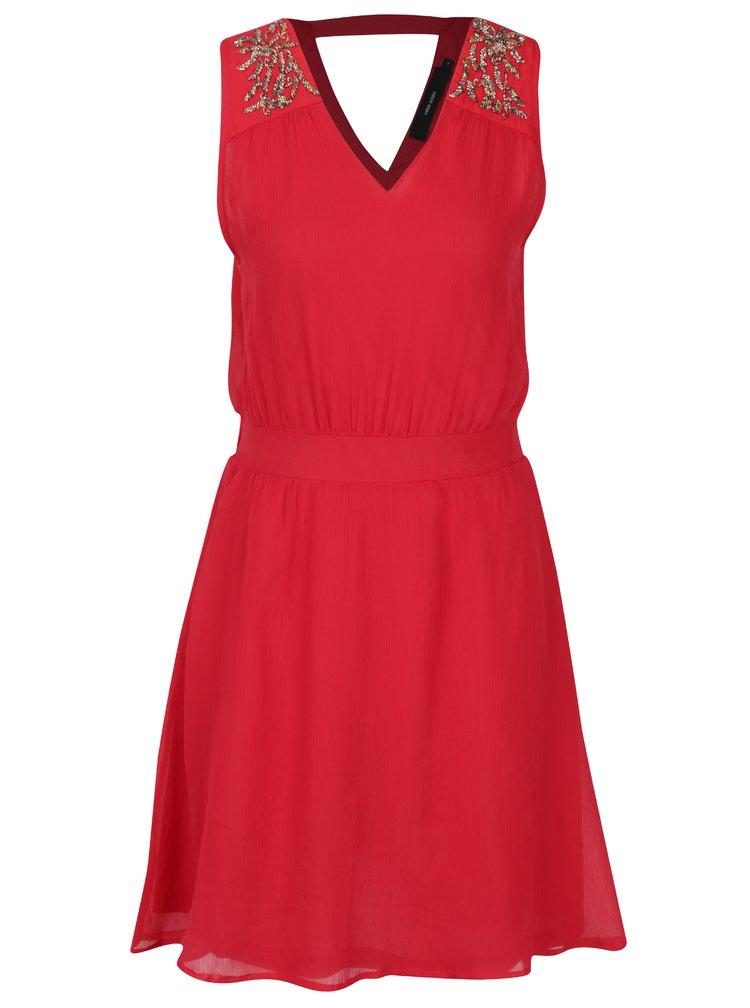 Červené šaty s korálkovou aplikací VERO MODA Lollie