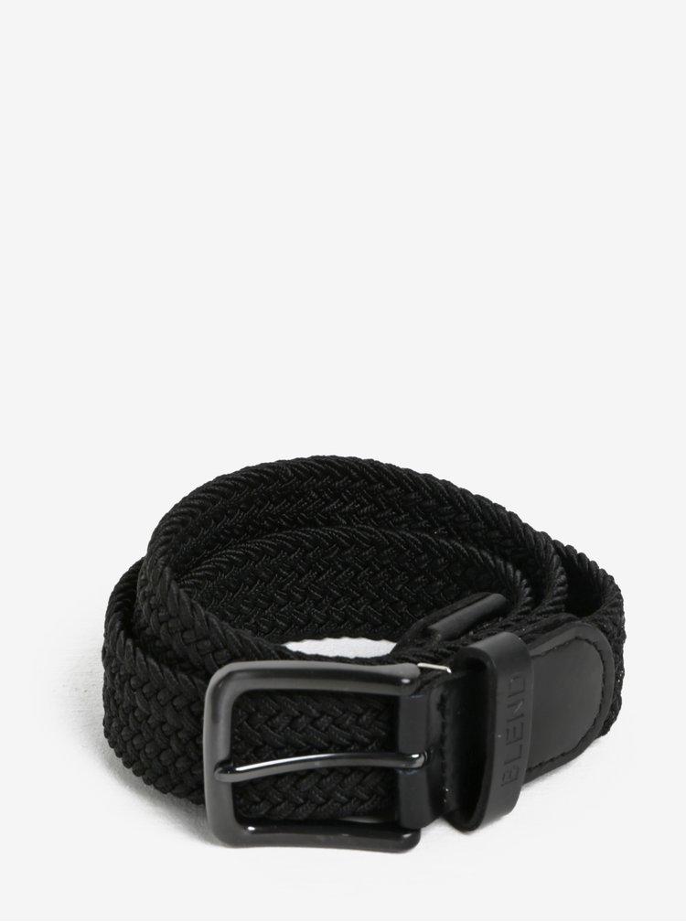 Černý pásek s koženými detaily Blend