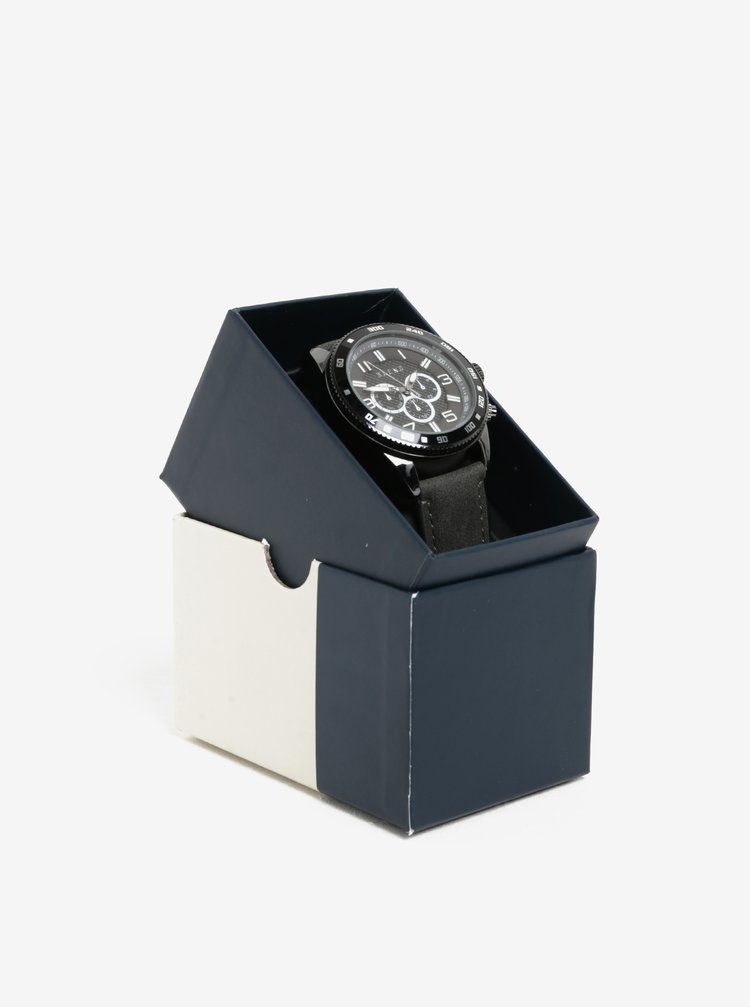 Černé hodinky s šedým páskem Blend
