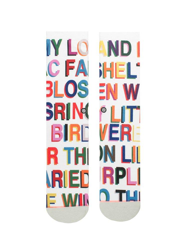 Sosete albe inalte cu print text pentru femei - Stance Love Letters