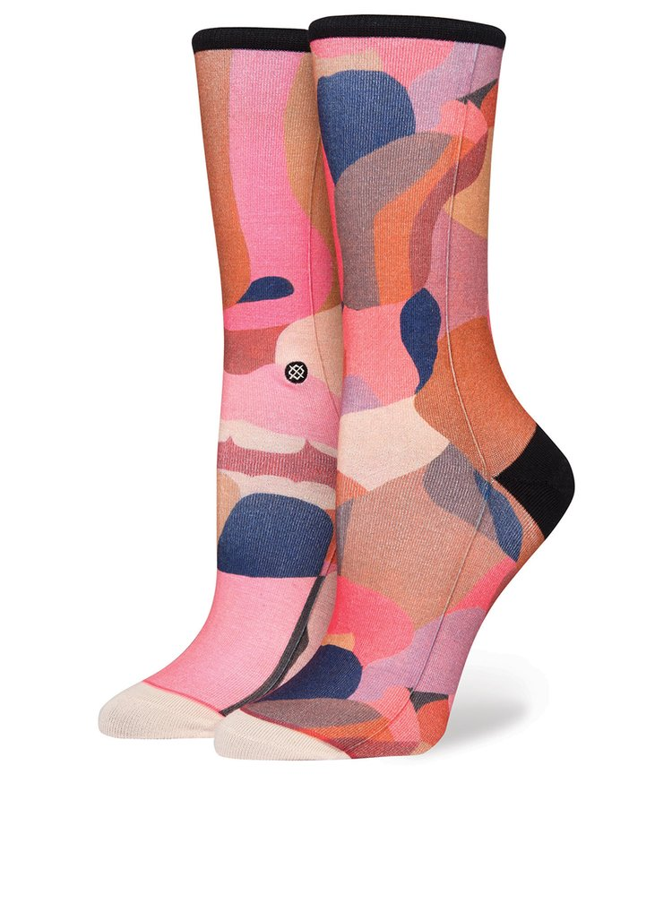 Sosete roz cu print geometric si abstract pentru femei - Stance Stolen KIss Crew