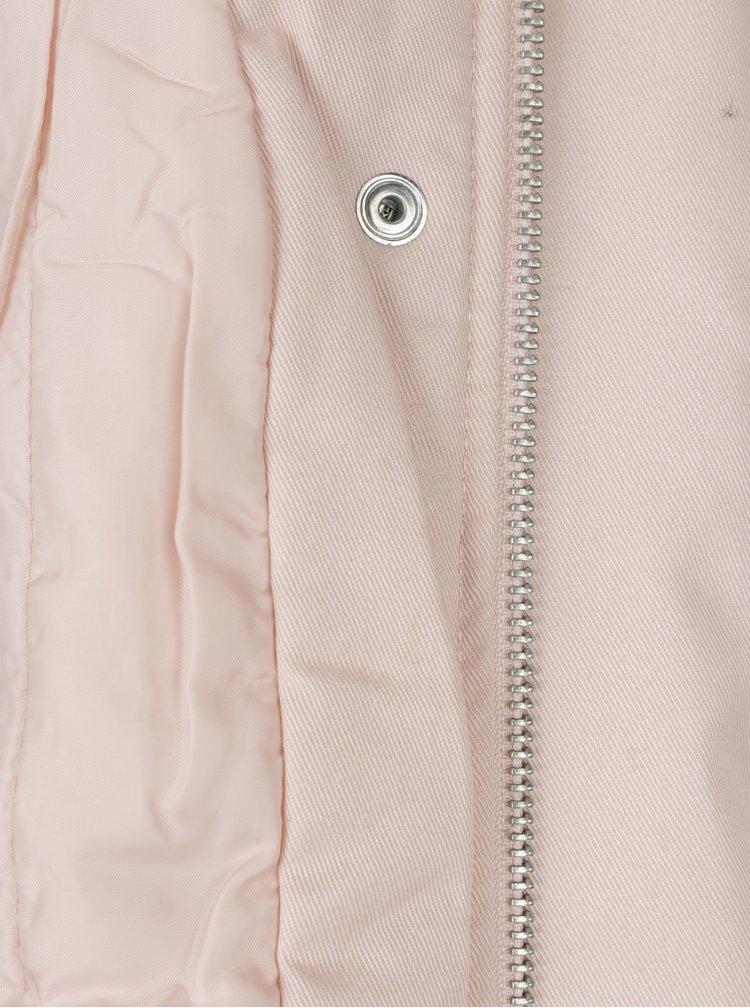Světle růžová parka s kapucí ONLY New Lorca