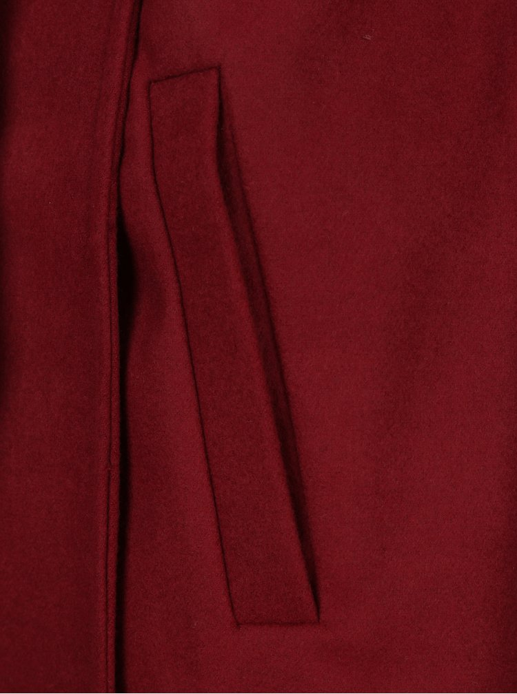 Palton rosu bordeaux cu gluga ONLY Phoebe
