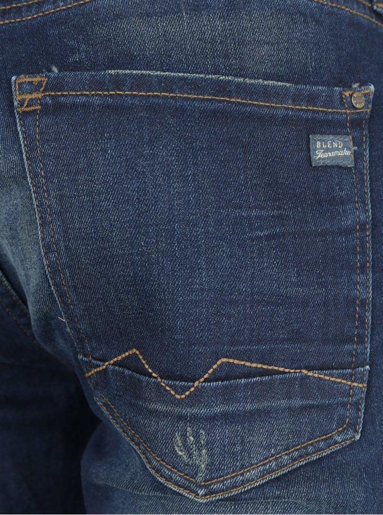 Tmavě modré slim fit džíny s potrhaným efektem Blend
