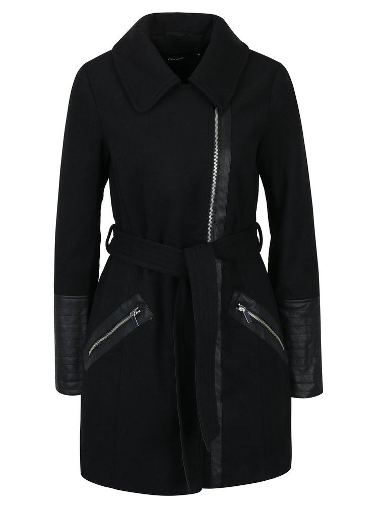 Černý kabát s páskem a příměsí vlny VERO MODA Milán