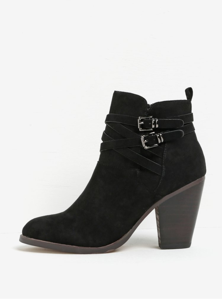 Černé kotníkové boty na podpatku v semišové úpravě Miss KG Spike