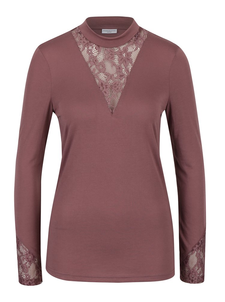 Starorůžové tričko s krajkou v dekoltu Jacqueline de Yong Fabia