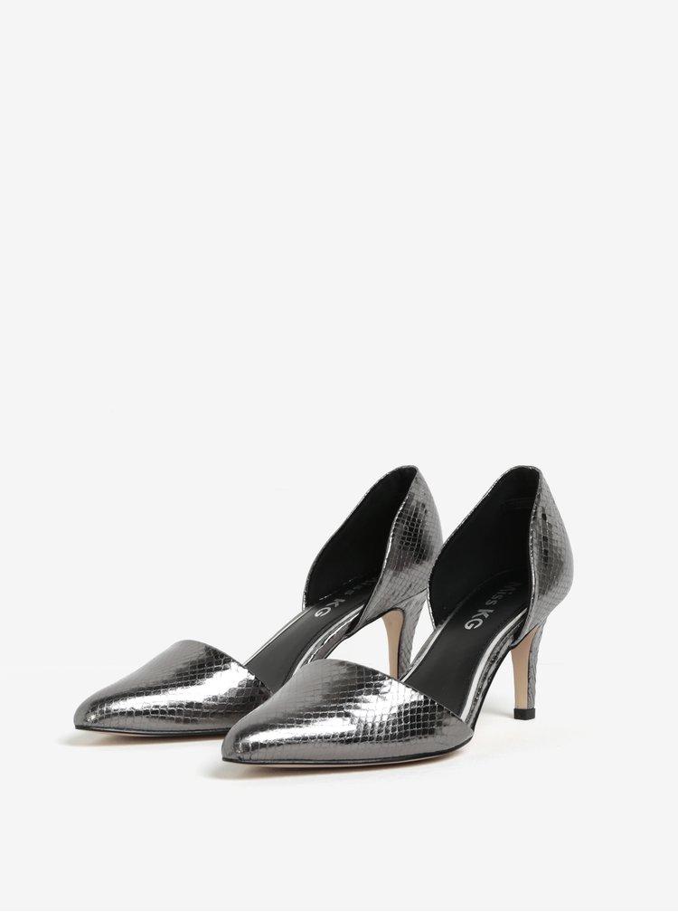 Pantofi argintii cu toc si varf ascutit - Miss KG Celina