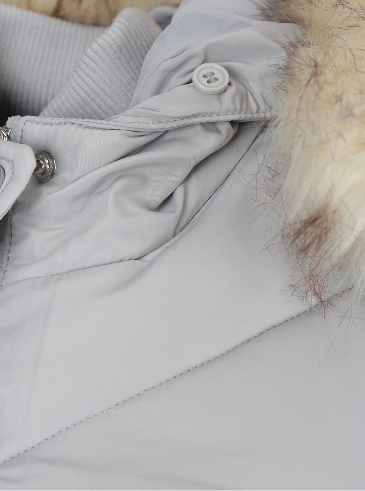 Geaca matlasata lunga gri cu blana artificiala Miss Selfridge