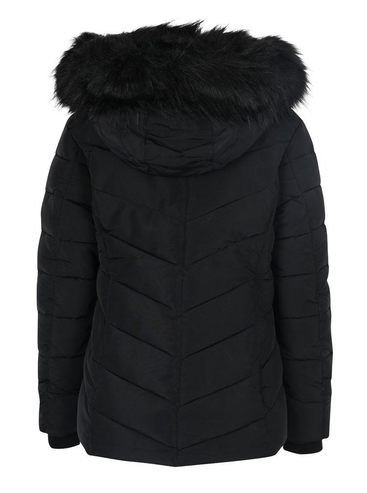 Černá prošívaná bunda s umělým kožíškem Miss Selfridge