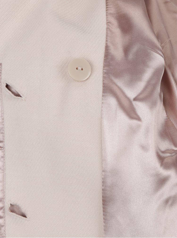 Světle růžový kabát s páskem a umělým kožíškem Miss Selfridge