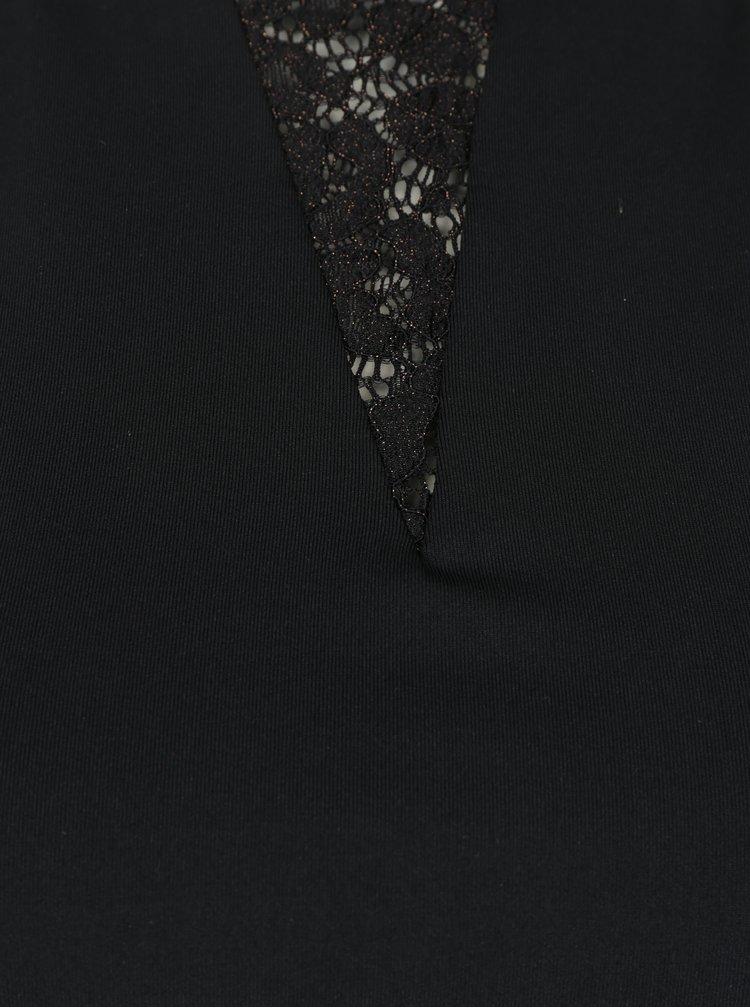 Černé krajkové šaty s prošíváním v bronzové barvě ONLY Lene