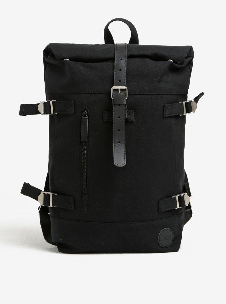 Rucsac unisex negru cu detalii din piele Hiker Roll Top Backpack Enter 16 l