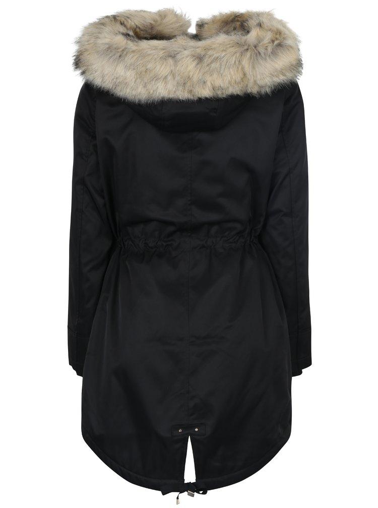 Černá parka s umělým kožíškem Miss Selfridge