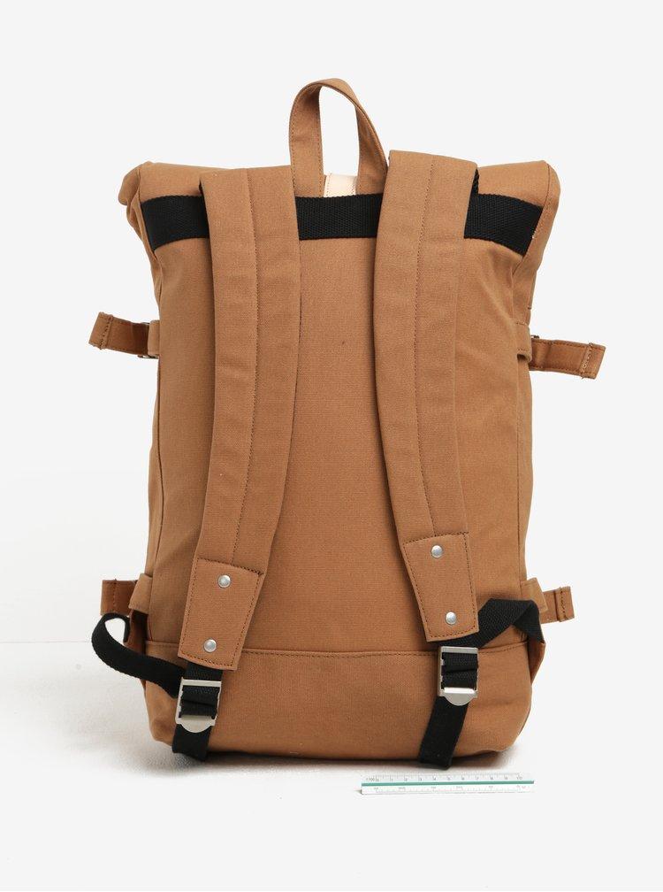 Rucsac unisex maro cu detalii din piele Hiker Roll Top Backpack Enter 16 l
