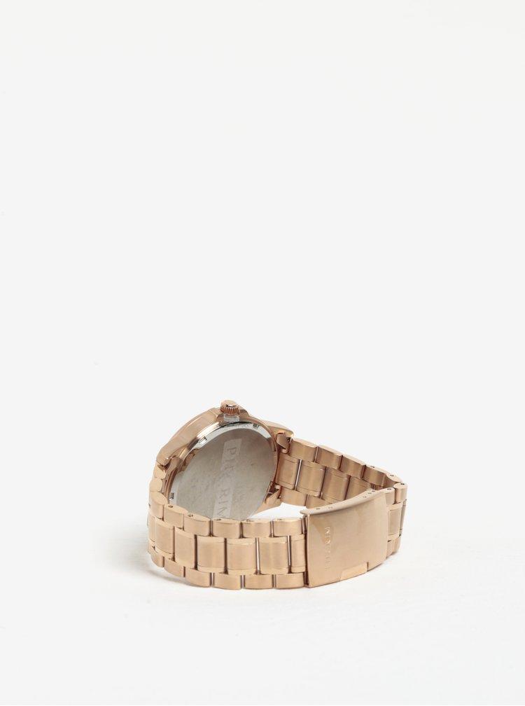 Pozlacené hodinky v růžovozlaté barvě s kovovým páskem Pilgrim