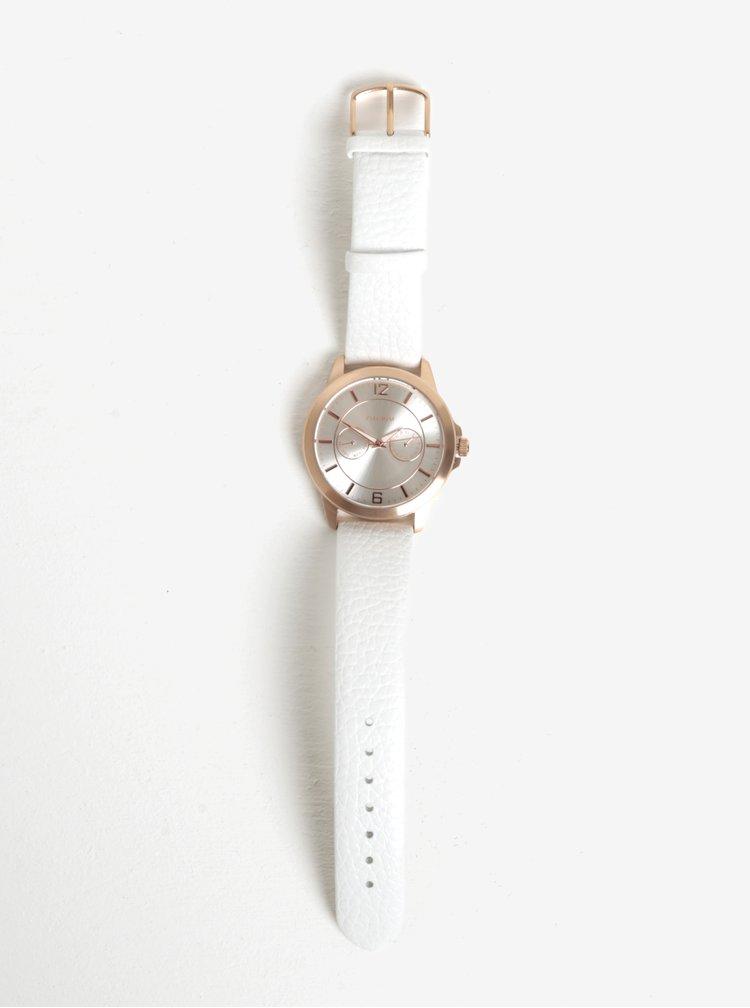 Pozlacené hodinky v růžovozlaté barvě s bílým koženým páskem Pilgrim