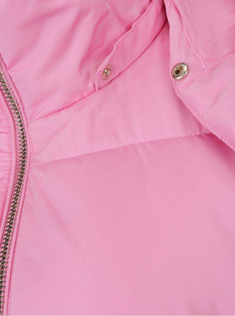 Růžová prošívaná bunda s kapucí Miss Selfridge