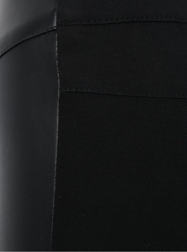 Černé legíny s koženkovou přední částí ONLY Mary