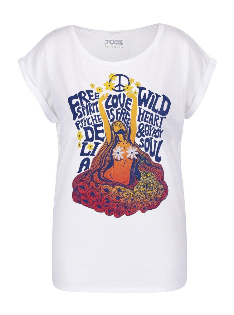 Bílé dámské tričko s potiskem ZOOT Original Hippie