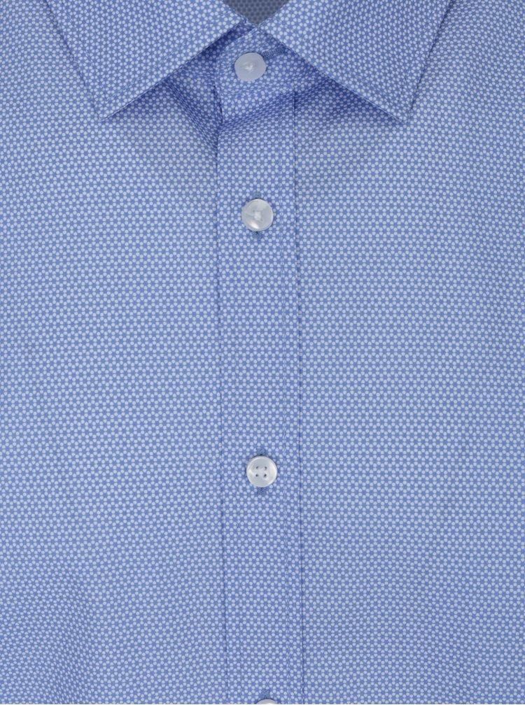 Světle modrá formální vzorovaná slim fit košile Seidensticker