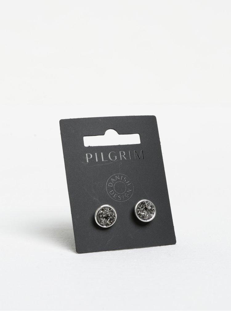 Postříbřené náušnice s třpytivou strukturou Pilgrim
