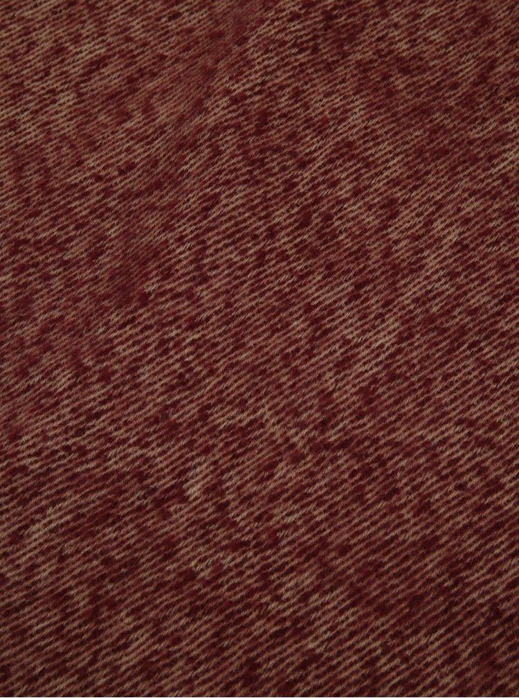 Béžovo-vínová šála s třásněmi VERO MODA Massy