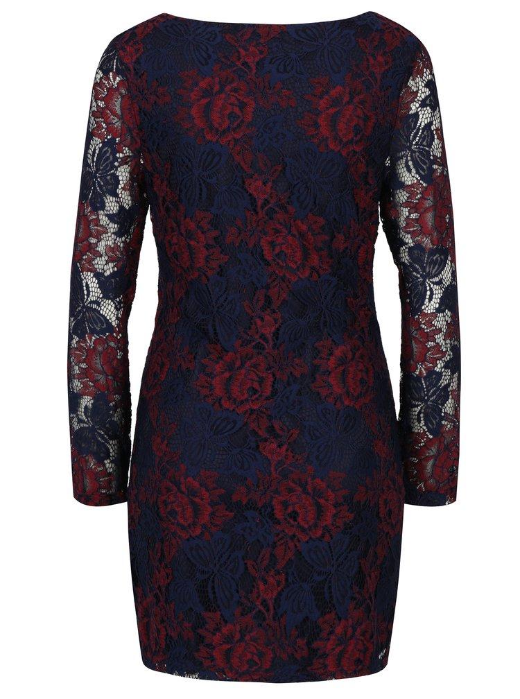 Červeno-modré čipkové šaty Mela London