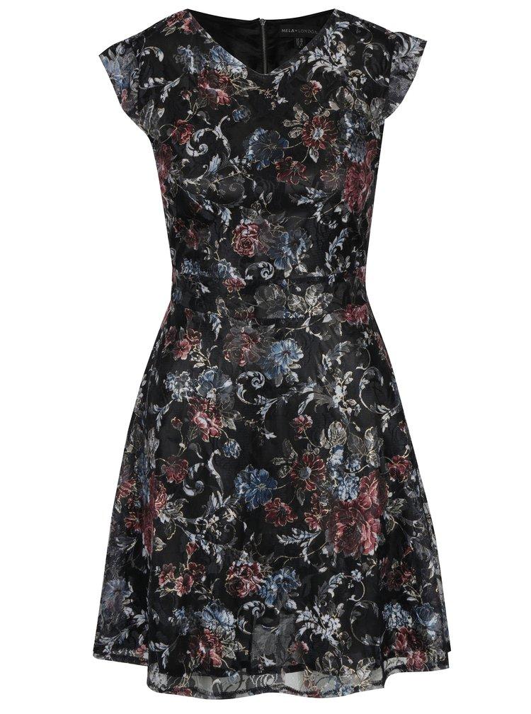 Černé krajkové šaty s šerpou v pase Mela London