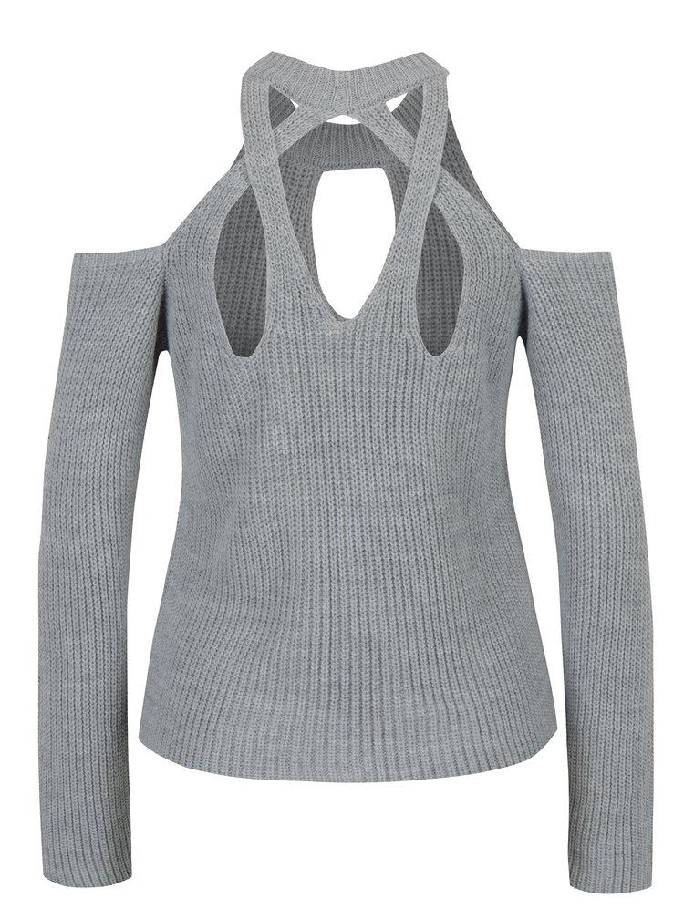 Šedý svetr s průstřihy Miss Selfridge