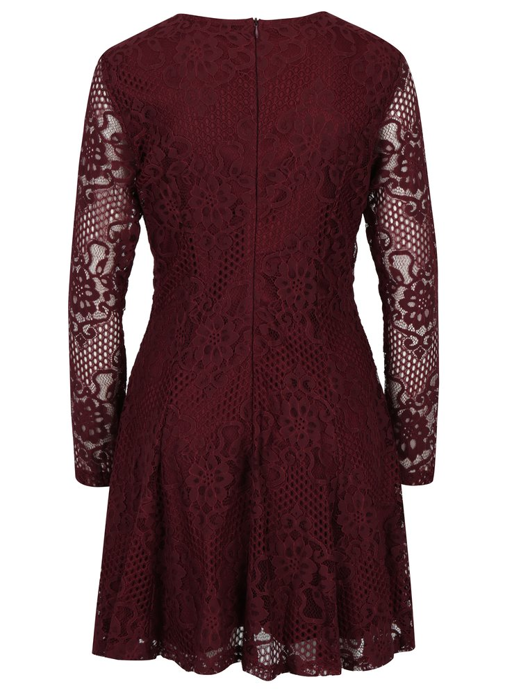 Vínové krajkové áčkové šaty Mela London