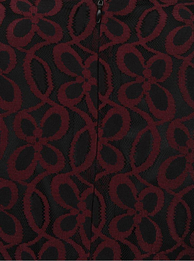 Vínovo-černé pouzdrové krajkové šaty s překládaným dekoltem Mela London