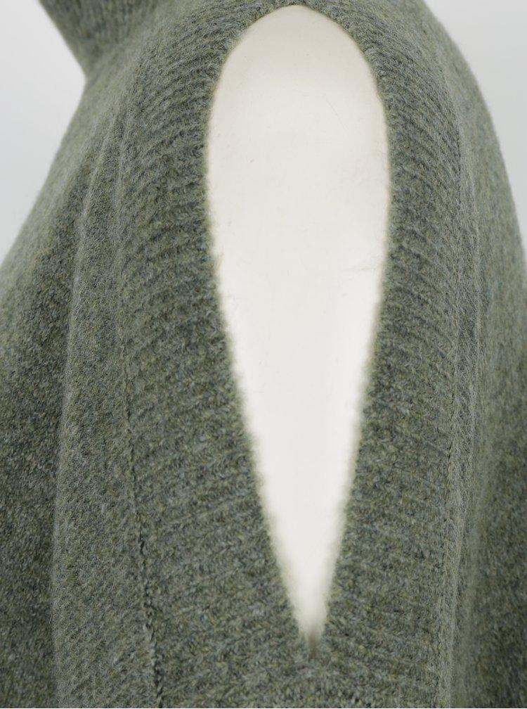 Khaki žíhaný svetr s průstřihy na ramenou Miss Selfridge