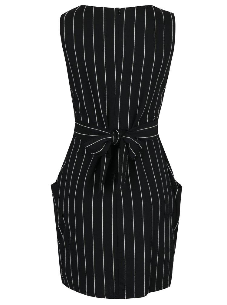 Černé pruhované pouzdrové šaty bez rukávů Mela London