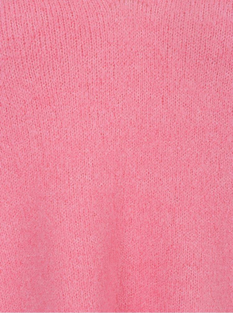 Růžový svetr s véčkovým výstřihem Miss Selfridge