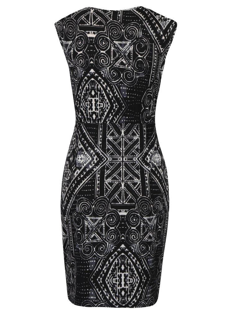 Černé vzorované pouzdrové šaty s detailem ve zlaté barvě Mela London