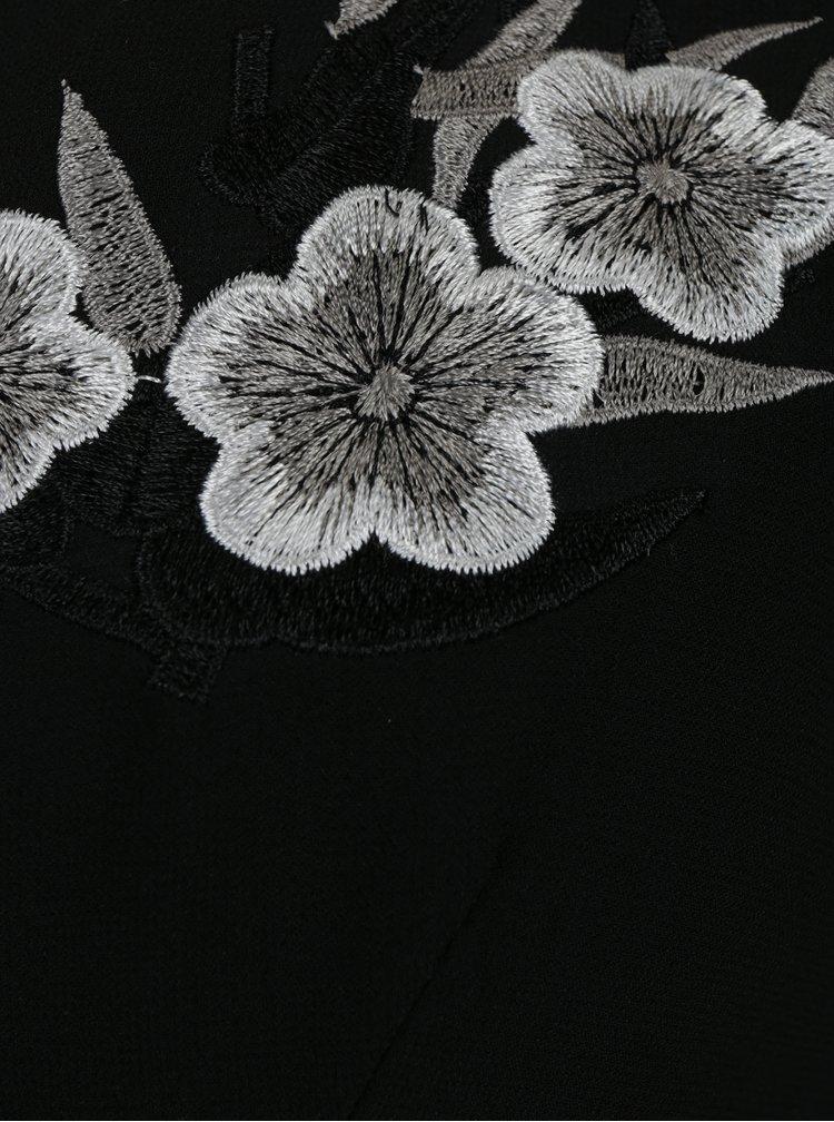 Černé překládané šaty s výšivkami Mela London