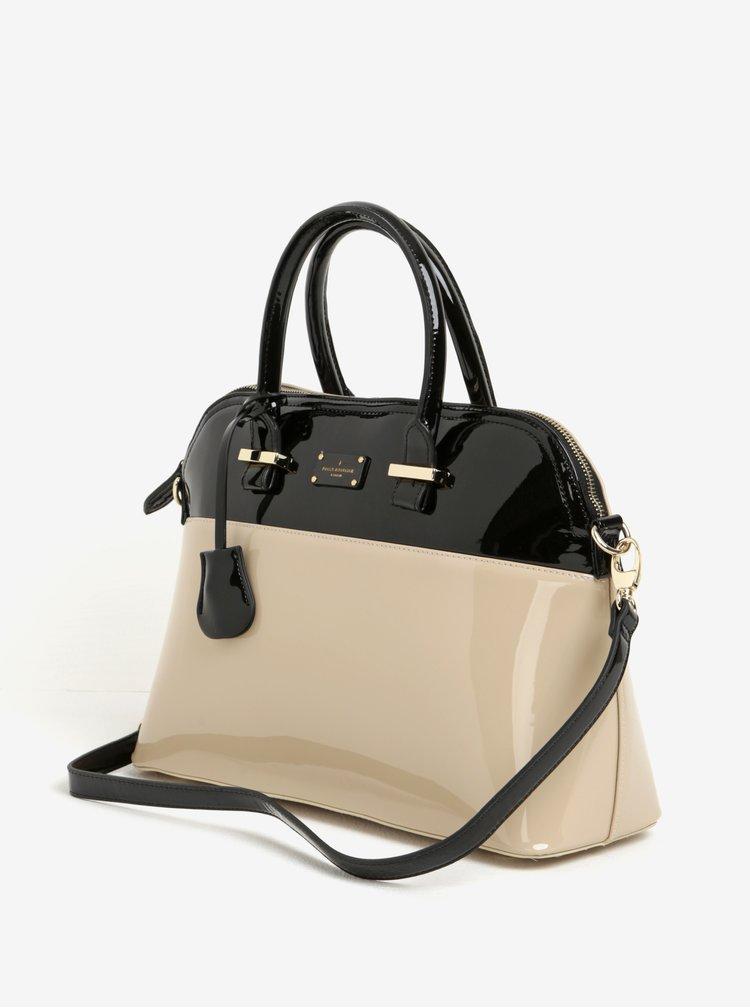 Geanta bej&negru cu aspect lacuit Paul's Boutique Maisy