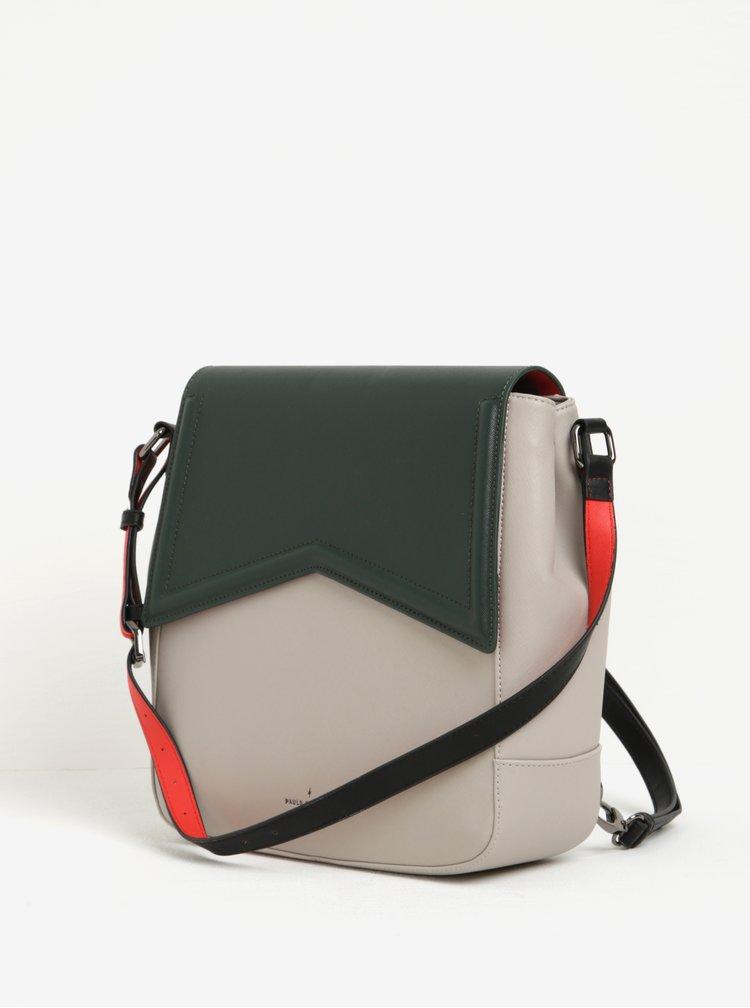 Zeleno-šedá kabelka/batoh 2v1 s červenými detaily Paul's Boutique Zena