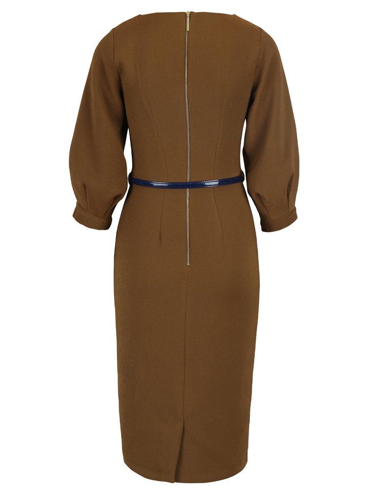Hnědé pouzdrové šaty s páskem a balónovými rukávy Closet