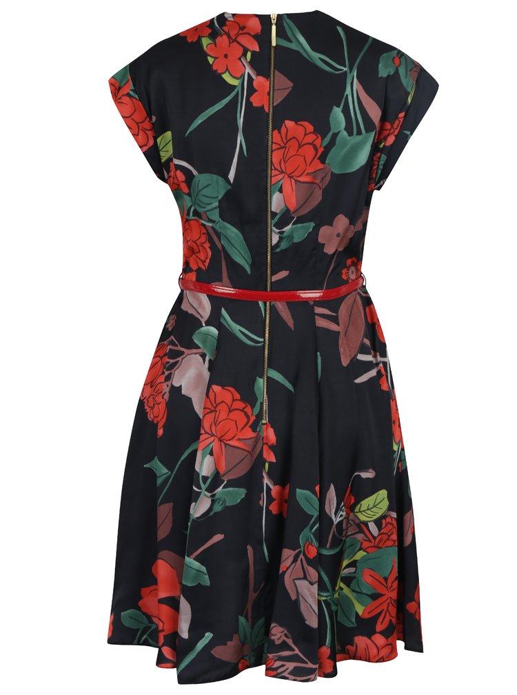 Černo-červené květované šaty s překládaným dekoltem a páskem Closet