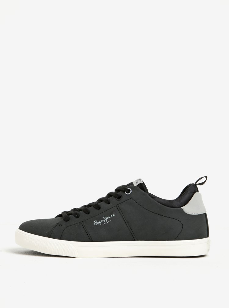 Pantofi sport negri din piele si material textil pentru barbati -Pepe Jeans Marton Camu