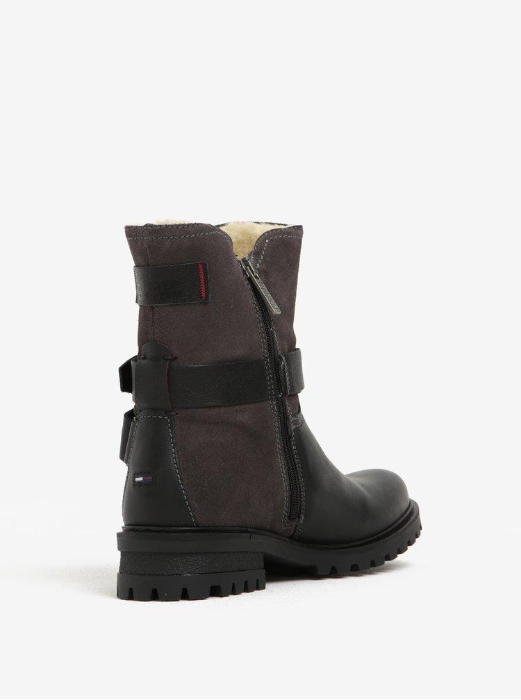 Černé dámské kožené kotníkové boty s umělým kožíškem Tommy Hilfiger Corey