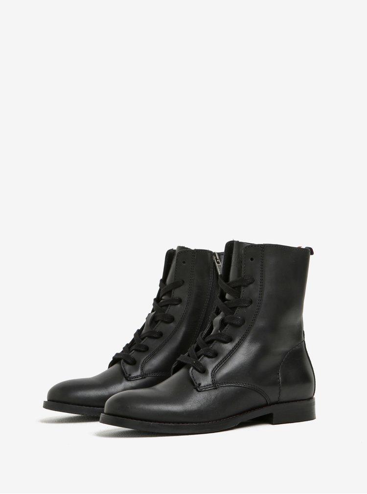 Černé dámské kožené kotníkové boty Tommy Hilfiger Genny